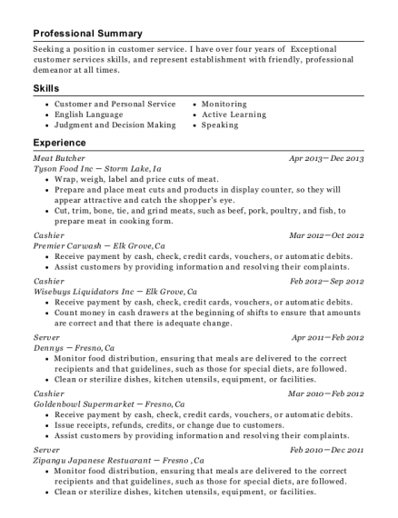 Meat Butcher resume format California