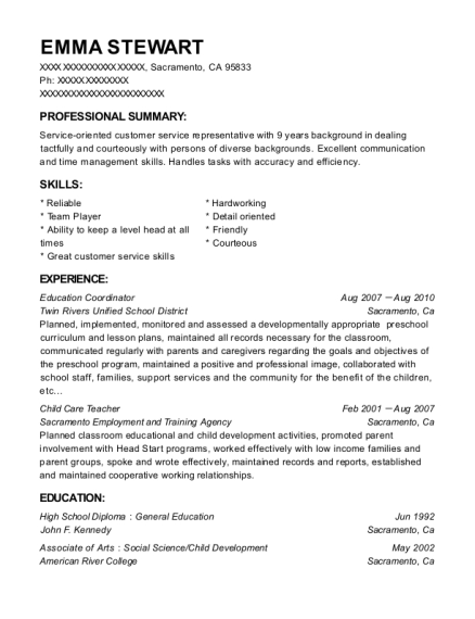 Education Coordinator resume example California