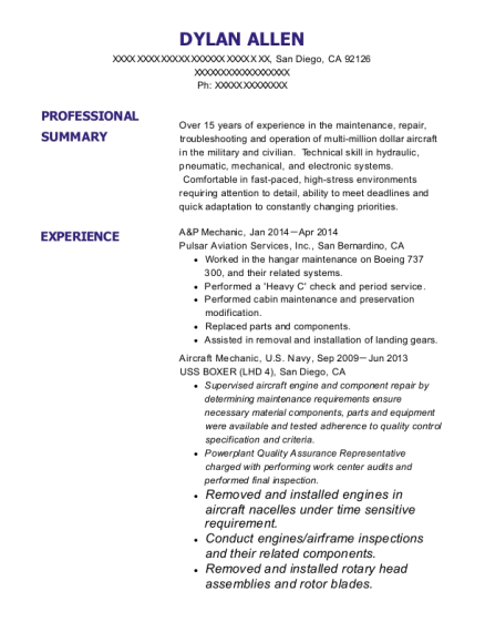 A&P Mechanic resume template California