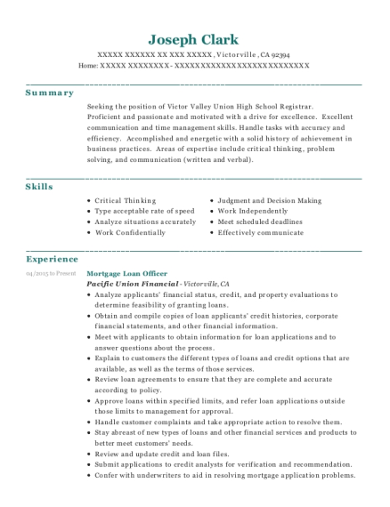 Mortgage Loan Officer resume format California