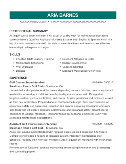 Golf Course Superintendent resume example California