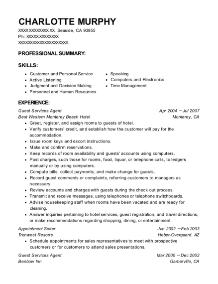 Guest Services Agent resume example California