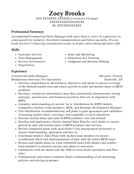 Commercial Sales Manager resume format California