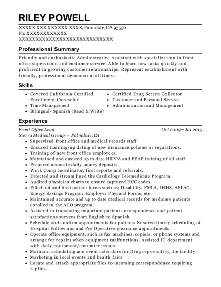 Front Office Lead resume format California