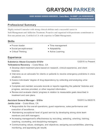 Substance Abuse Counselor 15 resume sample California