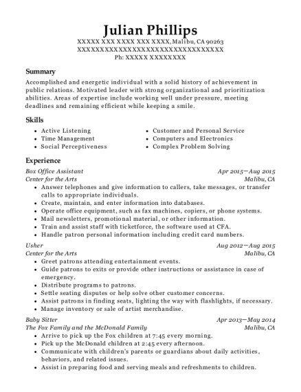 Box Office Assistant resume example California