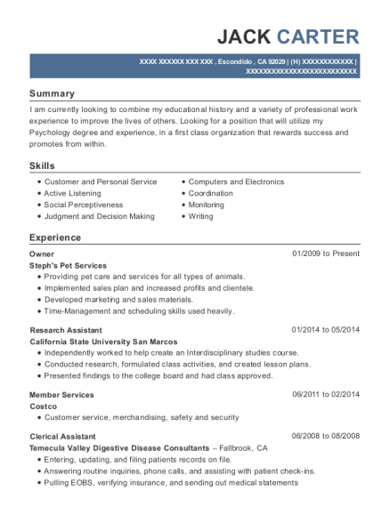 Owner resume example California