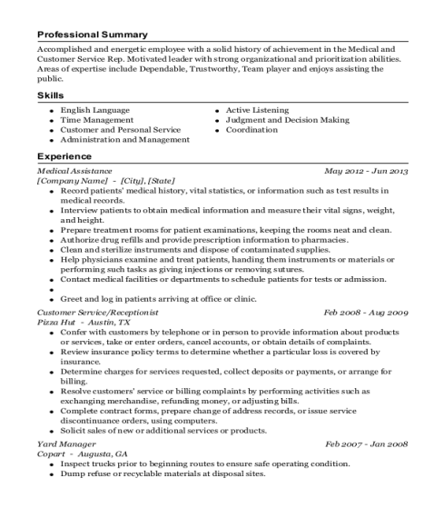 Medical Assistance resume sample California