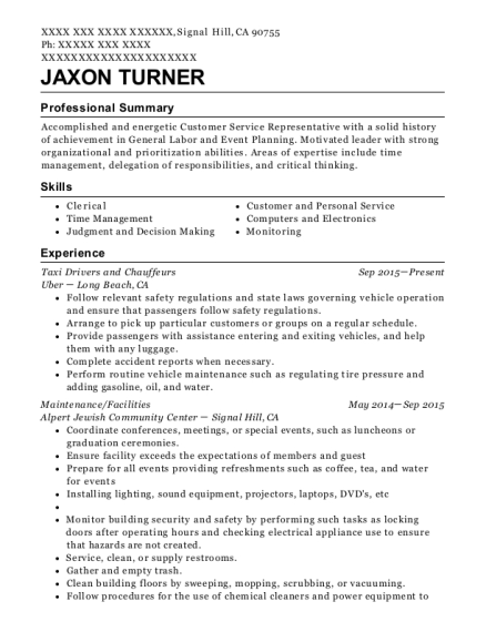 Taxi Drivers and Chauffeurs resume format California