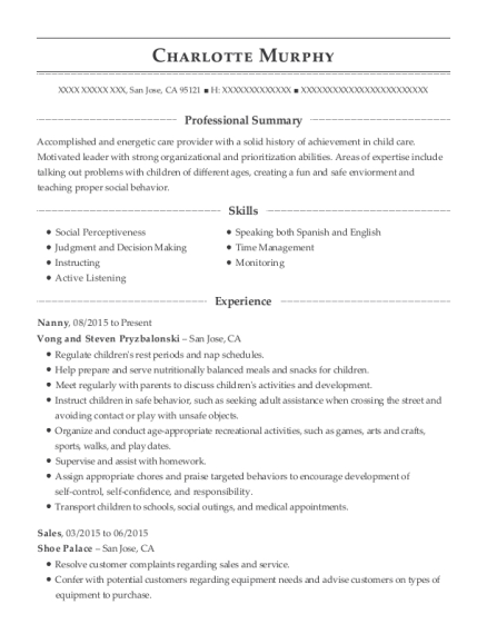 Nanny resume format California