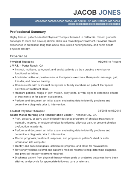 Physical Therapist resume example California