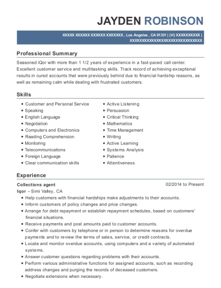 Collections agent resume format California