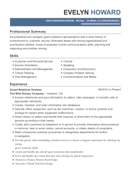 Guest Relations Hostess resume example California