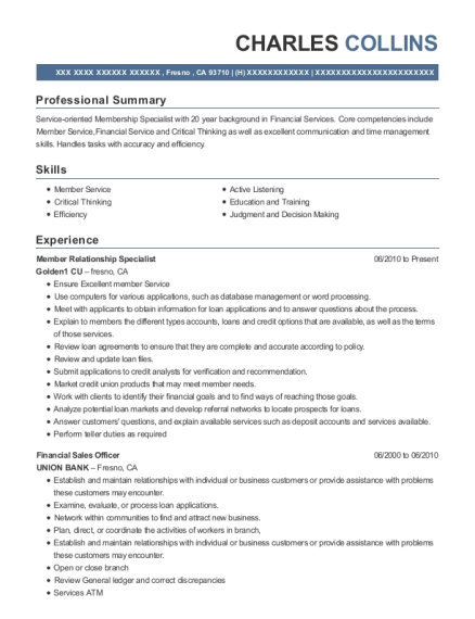 Member Relationship Specialist resume example California