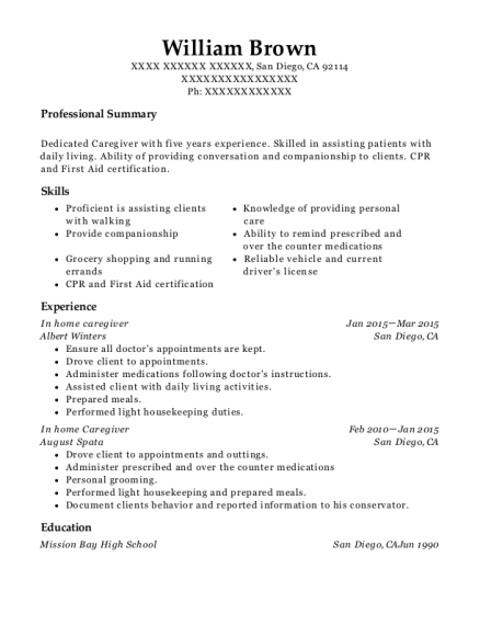 In home caregiver resume example California