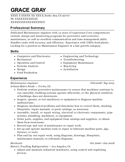 Maintenance Engineer resume template California