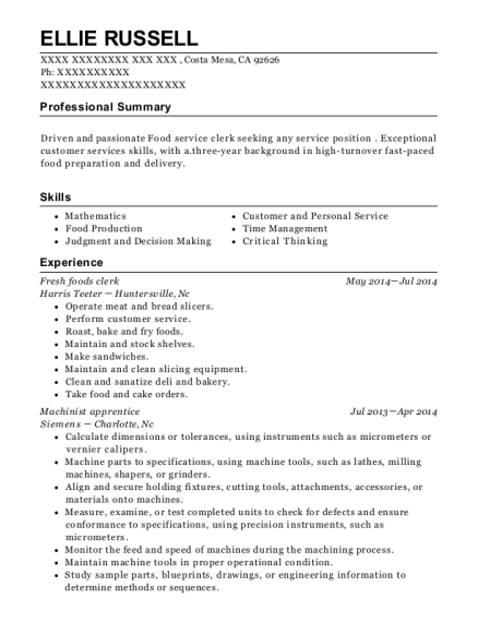 Fresh foods clerk resume example California