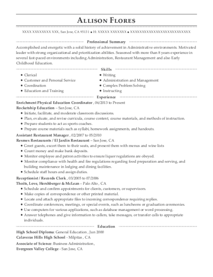 Enrichment Physical Education Coordinator resume template California