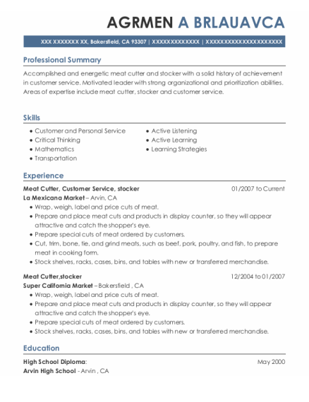 Meat Cutter resume example California