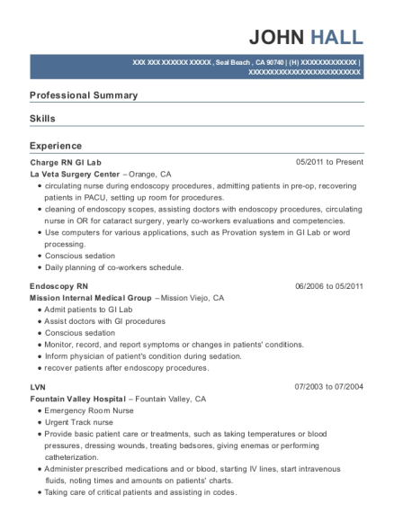 Charge RN GI Lab resume sample California