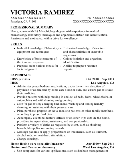 In Home Supportive Services Ihss Provider Resume Sample - Fairfield