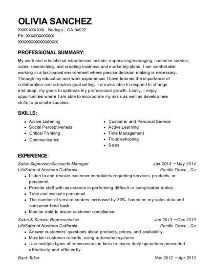 Sales Supervisor resume format California