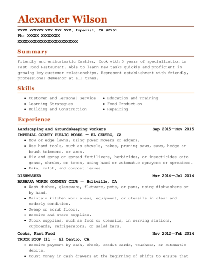 Landscaping and Groundskeeping Workers resume template California