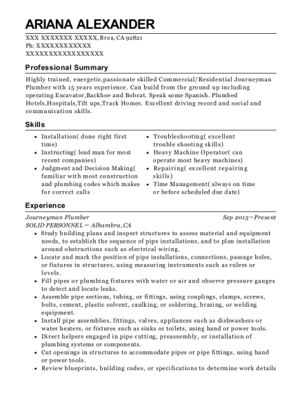 Journeyman Plumber resume example California