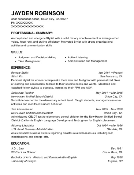Remote Stylist resume format California