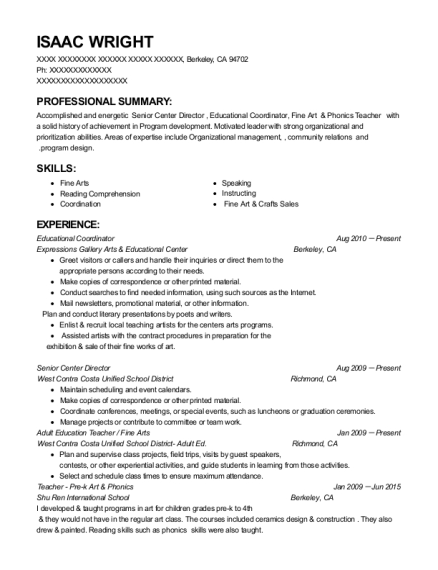 Educational Coordinator resume example California