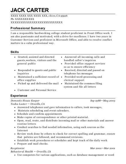 Domestic House Keeper resume sample California