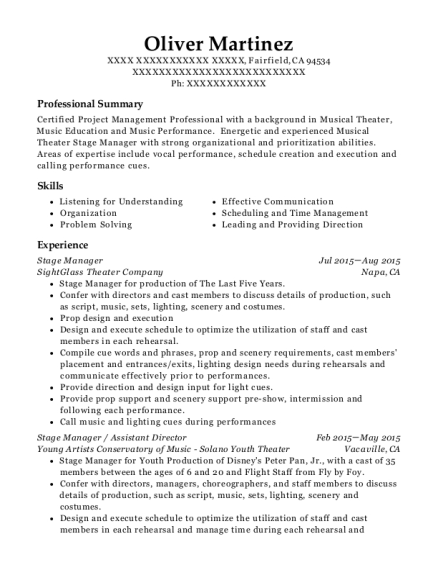 Stage Manager resume example California