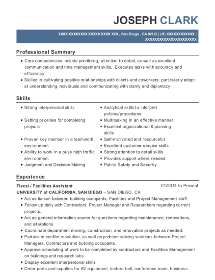 Fiscal resume format California