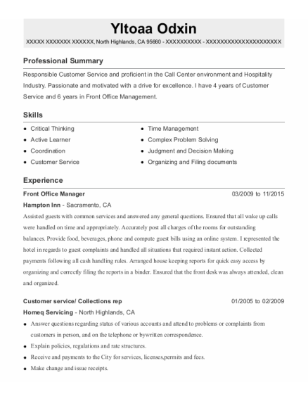 Front Office Manager resume sample California