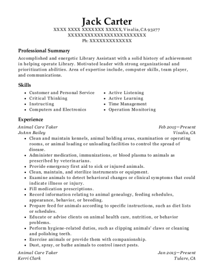 Best Animal Care Taker Resumes