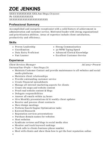 Client Services Manager resume template California