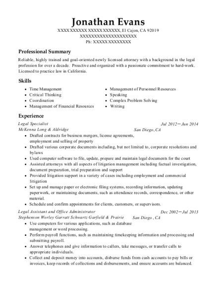 Legal Specialist resume sample California