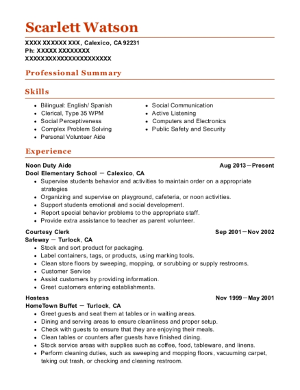 Noon Duty Aide resume template California