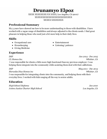 DSP resume template California