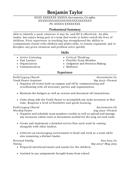 Youth Pastor Assistant resume format California