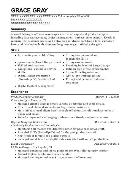 Product Support Manager resume sample California