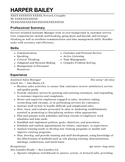 Assistant Sales Manager resume sample California