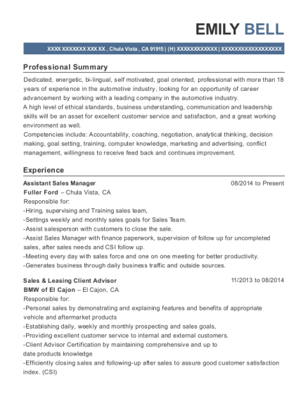 Assistant Sales Manager resume format California