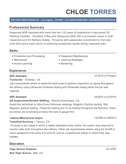 NDT Assistant resume example California