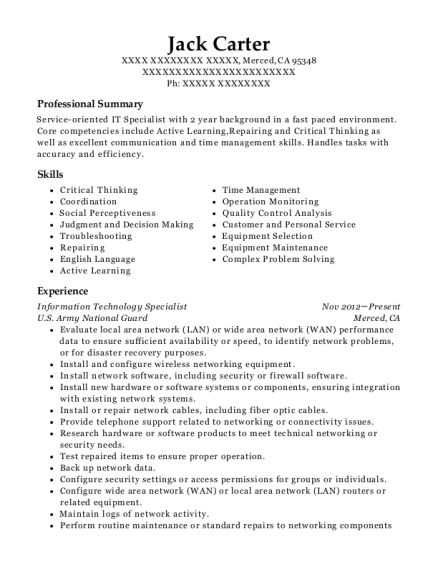 Information Technology Specialist resume template California