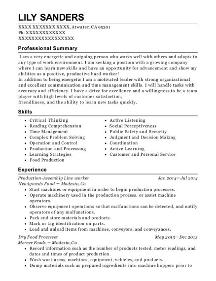 Production Assembly Line worker resume template California