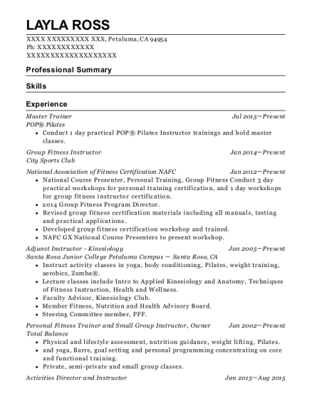 Master Trainer resume format California