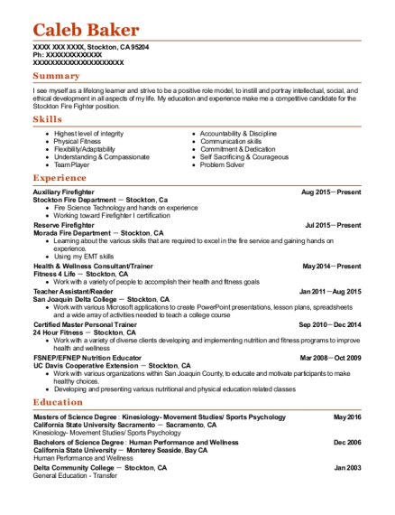 Auxiliary Firefighter resume template California