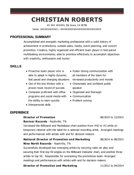Director of Promotion resume example California