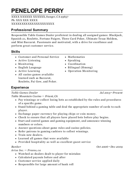 Table Games Dealer resume example California